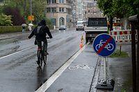 Lok , Avenue Marie-Therese , Sperrung Fahrradpiste wegen Baustelle , Foto:Guy Jallay/Luxemburger Wort