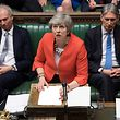 """A handout photograph released by the UK Parliament shows Britain's Prime Minister Theresa May speaking at the start of the debate on the second meaningful vote on the government's Brexit deal, in the House of Commons in London on March 12, 2019. - Prime Minister Theresa May's Brexit deal suffered a big blow on March 12, 2019 when her chief attorney ruled that risks from its most contention points remained """"unchanged"""". (Photo by JESSICA TAYLOR / various sources / AFP) / RESTRICTED TO EDITORIAL USE - NO USE FOR ENTERTAINMENT, SATIRICAL, ADVERTISING PURPOSES - MANDATORY CREDIT """" AFP PHOTO /Jessica TAYLOR/ UK Parliament"""""""