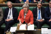 "A handout photograph released by the UK Parliament shows Britain's Prime Minister Theresa May speaking at the start of the debate on the second meaningful vote on the government's Brexit deal, in the House of Commons in London on March 12, 2019. - Prime Minister Theresa May's Brexit deal suffered a big blow on March 12, 2019 when her chief attorney ruled that risks from its most contention points remained ""unchanged"". (Photo by JESSICA TAYLOR / various sources / AFP) / RESTRICTED TO EDITORIAL USE - NO USE FOR ENTERTAINMENT, SATIRICAL, ADVERTISING PURPOSES - MANDATORY CREDIT "" AFP PHOTO /Jessica TAYLOR/ UK Parliament"""