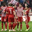 Olympiakos'  players celebrate a goal  during the UEFA Europa League Group F second-leg football match between Olympiakos Piraeus and F91 Dudelange at the Georgios Karaiskakis Stadium in Piraeus on November 8, 2018. (Photo by Aris Messinis / AFP)