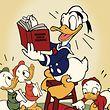 """03.06.2019, USA, Burbank: Donald Duck (M) und seine Neffen Tick, Trick und Track (undatierte Aufnahme). Am 9. Juni feiert die Comic-Figur den 85. Geburtstag. (zu dpa """"Entenschwanz und Matrosenjacke - Donald Duck wird 85"""") Foto: Disney/dpa - ACHTUNG: Nur zur redaktionellen Verwendung im Zusammenhang mit einer Berichterstattung """"Donald Duck wird 85"""" und nur mit vollständiger Nennung des vorstehenden Credits +++ dpa-Bildfunk +++"""