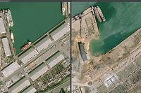 HANDOUT - 05.08.2020, Libanon, Beirut: Die undatierte Bildkombo zeigt die Docks des Hafens in Beirut vor und nach der gewaltigen Explosion in der libanesischen Hauptstadt. Foto: Copyright (c)cnes 2020, Distribu/PA Media/dpa - ACHTUNG: Nur zur redaktionellen Verwendung und nur mit vollständiger Nennung des vorstehenden Credits +++ dpa-Bildfunk +++