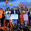 Colombian presidential candidate Ivan Duque (C), for the Democratic Centre party addresses supporters, after winning the first round of the Colombian presidential election, in Bogota on May 27, 2018. Conservative candidate Ivan Duque won the first round of Colombia's presidential election Sunday but fell short of the 50 percent threshold needed to avoid a runoff next month. The 41-year-old senator will face former guerrilla Gustavo Petro on June 17, the first leftist candidate to contest a runoff in Colombia.  / AFP PHOTO / Luis ACOSTA