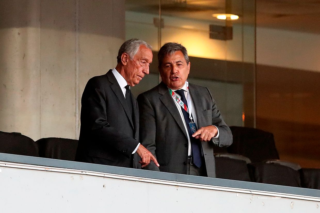 The President of Portugal, Marcelo Rebelo de Sousa (L), speaks with Fernando Gomes, president of Portuguese Soccer Federation, during the Portuguese Cup final soccer match between Benfica and FC Porto, held at Coimbra City stadium, Coimbra, Portugal, 1st August 2020. JOSE COELHO/LUSA