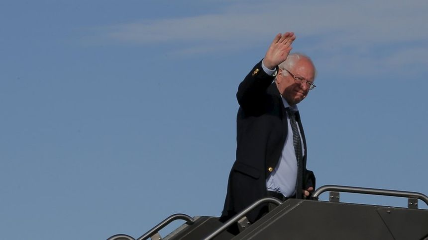 US Democratic presidential candidate Bernie Sanders (shown here boarding a plane in Denver, Colorado) received the most votes during the in-person voting event on Tuesday in Luxembourg.