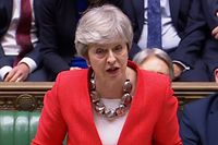"A video grab from footage broadcast by the UK Parliament's Parliamentary Recording Unit (PRU) shows Britain's Prime Minister Theresa May speaking to the house after losing the second meaningful vote on the government's Brexit deal, in the House of Commons in London on March 12, 2019. (Photo by - / PRU / AFP) / RESTRICTED TO EDITORIAL USE - MANDATORY CREDIT "" AFP PHOTO / PRU "" - NO USE FOR ENTERTAINMENT, SATIRICAL, MARKETING OR ADVERTISING CAMPAIGNS"