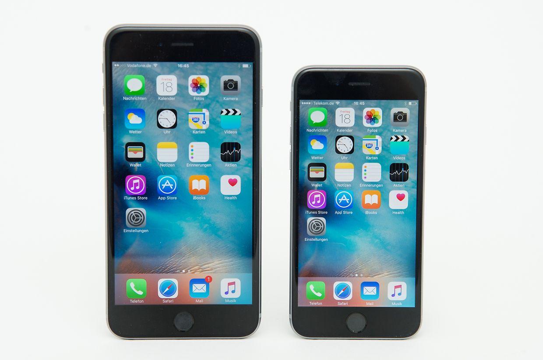 Äußerlich unverändert aber viel Neues im Inneren. Apple hat seine iPhones überarbeitet. Links das iPhone 6S Plus, rechts das iPhone 6S.