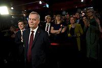 Die Sozialdemokraten von Antti Rinne (vorne) können mit einem Sieg rechnen.