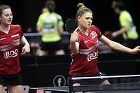 22.04.2019 Budapest(Hungary)Liebherr 2019 ITTF world senior championships table tenniswomen's doubles Danielle Konsbruck,Sarah Meyer LuxembourgFoto:Aleksandar Djorovic
