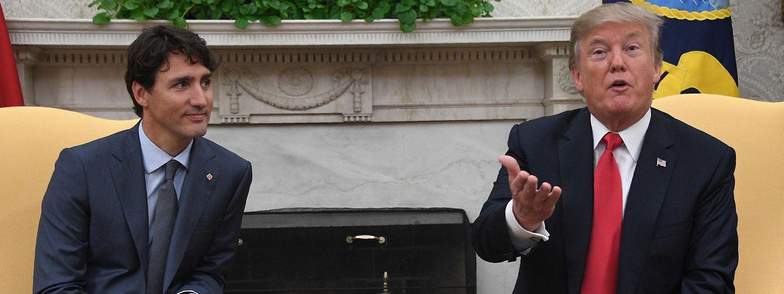 Justin Trudeau (l.) war zum zweiten Mal im Weißen Haus zu Gast.