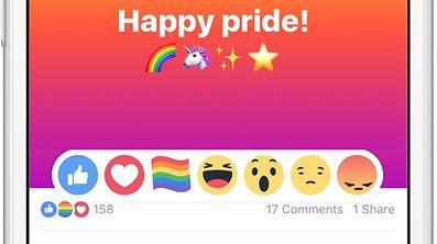 Jusqu'à fin juin, les utilisateurs du réseau social auront la possibilité d'utiliser un drapeau arc-en-ciel, symbole de la communauté LGBT (lesbienne, gay, bi, trans), pour réagir à un post.