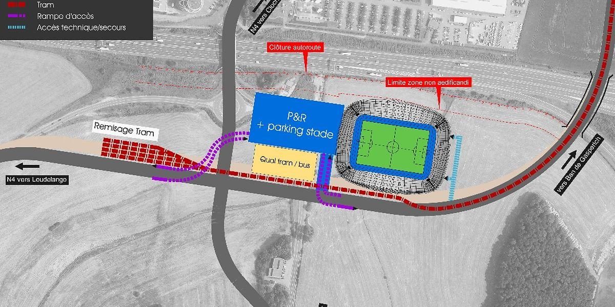 Neuer Standort an der Autobahn: Am oberen Bildrand ist das Post-Gebäude zu erkennen, darunter der Contournement und der künftige Stadionneubau.