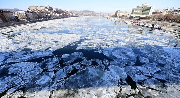 Ice floates over the Danube river in Budapest, on January 9, 2017.