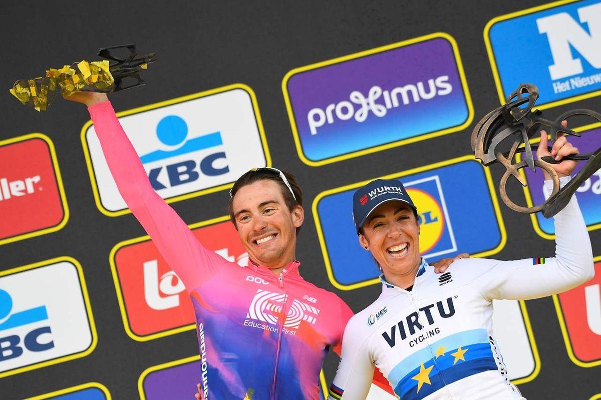 Alberto Bettiol au côté de la lauréate de la course des dames.