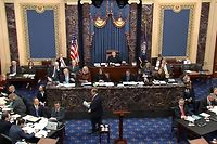 """This still image from a US Senate webcast on January 23, 2020, shows House Manager Jerry Nadler (C, bottoms) ends his speech on the floor of the US Senate Chamber at the US Capitol during the impeachment trial of US President Donald Trump presided by US Supreme Curt Chief Justice John Roberts (C, seated) in Washington, DC. - Democrats accused Trump at his historic Senate impeachment trial of seeking to cheat to ensure re-election in November, and called for """"courage"""" by the president's fellow Republicans while considering the case against him. (Photo by HO / US Senate TV / AFP) / RESTRICTED TO EDITORIAL USE - MANDATORY CREDIT """"AFP PHOTO / US SENATE TV"""" - NO MARKETING - NO ADVERTISING CAMPAIGNS - DISTRIBUTED AS A SERVICE TO CLIENTS"""