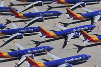 (FILES) In this file photo taken on March 28, 2019, Southwest Airlines Boeing 737 MAX aircraft are parked on the tarmac after being grounded at the Southern California Logistics Airport in Victorville, California. - Boeing has submitted a proposed software fix to the US Federal Aviation Administration to allow the 737 MAX to resume flying, a person familiar with the matter said Monday, April 29, 2019.  The application will be considered complete following a test flight in the coming days, added the person. The planes have been grounded worldwide since mid-March after two crashes killed 346 people. (Photo by Mark RALSTON / AFP)