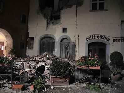 CORRECTION - A picture shows destructions in the village of Visso, central Italy, following earthquakes on October 26, 2016. Twin earthquakes rocked central Italy on October 26, 2016 -- the second registering at a magnitude of 6.0 -- in the same region struck in August by a devastating tremor that killed nearly 300 people. The quakes were felt in the capital Rome, sending residents running out of their houses and into the streets. The second was felt as far away as Venice in the far north, and Naples, south of the capital. / AFP PHOTO / TIZIANA FABI / �The erroneous mention[s] appearing in the metadata of this photo by TIZIANA FABI has been modified in AFP systems in the following manner: [Visso] instead of [Borgo Sant'Antonio]. Please immediately remove the erroneous mention[s] from all your online services and delete it (them) from your servers. If you have been authorized by AFP to distribute it (them) to third parties, please ensure that the same actions are carried out by them. Failure to promptly comply with these instructions will entail liability on your part for any continued or post notification usage. Therefore we thank you very much for all your attention and prompt action. We are sorry for the inconvenience this notification may cause and remain at your disposal for any further information you may require.�