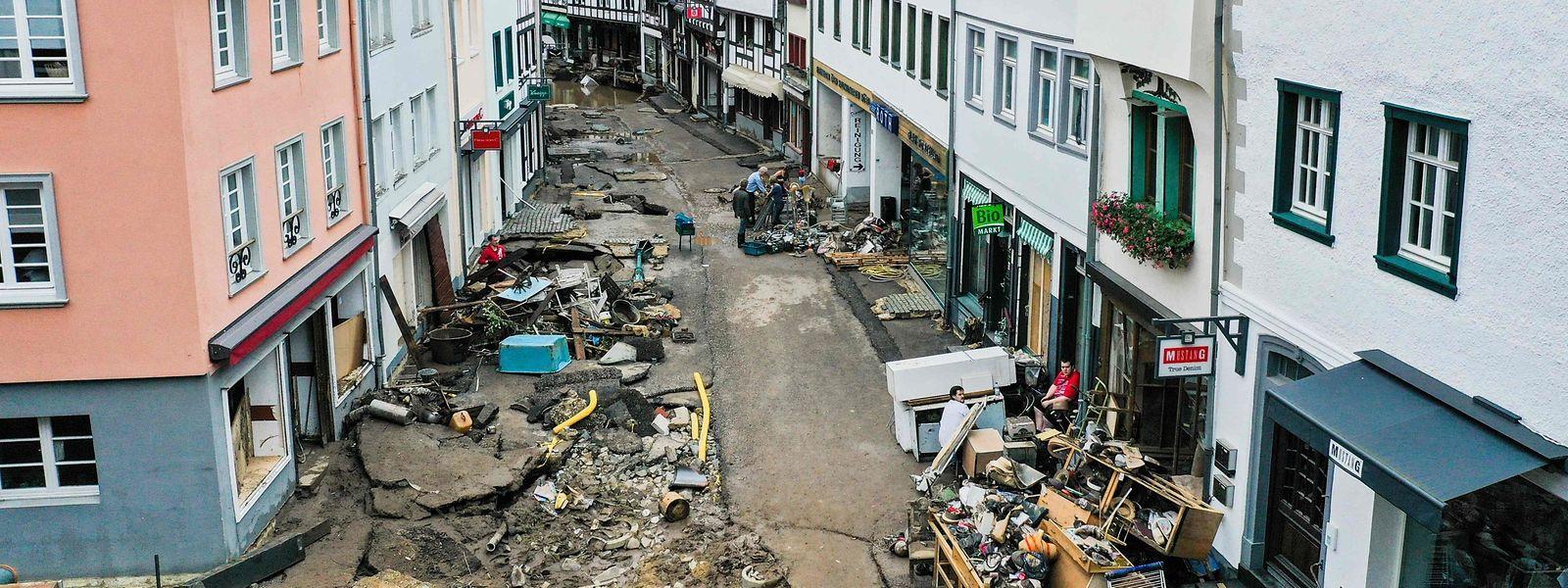 Unwetterschäden in Bad Münstereifel in Nordrhein-Westfalen.