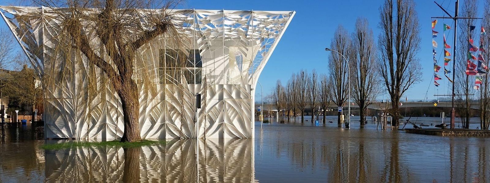 Mittwoch letzte Woche: Wie ein Schiff spiegelt sich das Centre Visit Remich im Moselwasser.