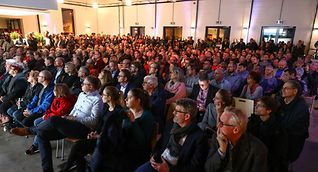 Residents listen in November 2019 as Google executives described their plans for a possible data centre in Bissen.