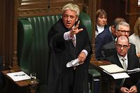 """TOPSHOT - A handout photograph released by the UK Parliament shows UK Parliament Speaker John Bercow speaking in the House of Commons in London on October 21, 2019, on the European Union (EU) Withdrawal Act 2018 Motion. - UK Parliament Speaker John Bercow blocked British Prime Minister Boris Johnson from holding a vote Monday on his new Brexit divorce deal after MPs failed to back it on Saturday. """"The motion will not be debated today as it would be repetitive and disorderly to do so,"""" Bercow told lawmakers in the House of Commons. (Photo by JESSICA TAYLOR / UK PARLIAMENT / AFP) / RESTRICTED TO EDITORIAL USE - NO USE FOR ENTERTAINMENT, SATIRICAL, ADVERTISING PURPOSES - MANDATORY CREDIT """" AFP PHOTO / Jessica Taylor /UK Parliament"""""""