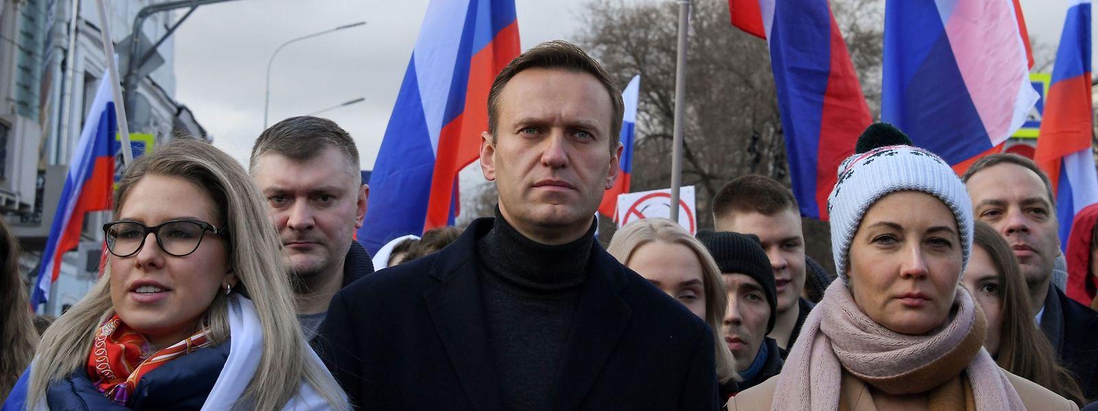 Alexej Nawalny bei einer Demonstration im Februar 2020.