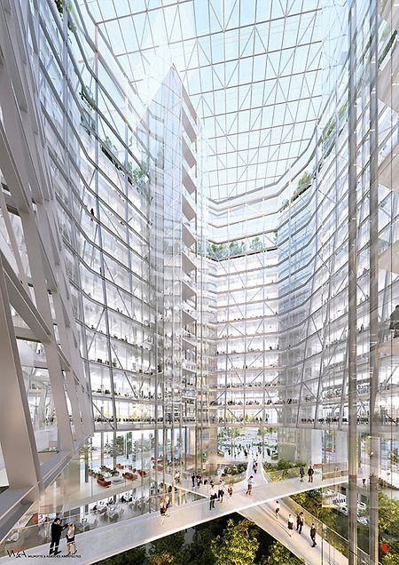A suspended garden will be integrated in the centre of the building (ArcelorMittal)