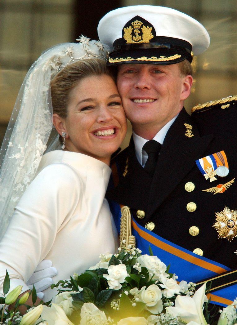 2. Februar 2002: das frisch vermählte Prinzenpaar Maxima und Willem-Alexander der Niederlande.