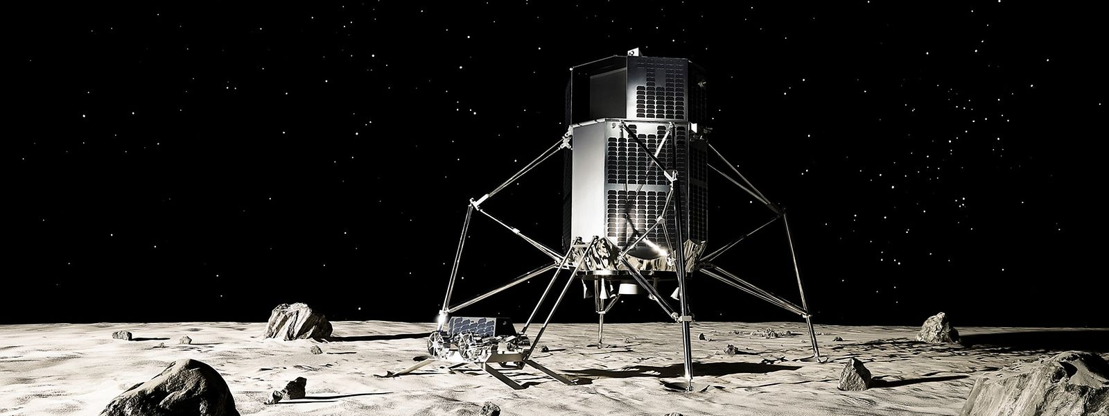 L'engin d'ispace qui se posera sur la Lune et sur son pied, à gauche, un des rovers qu'il embarquera pour aller mesurer la qualité de l'eau