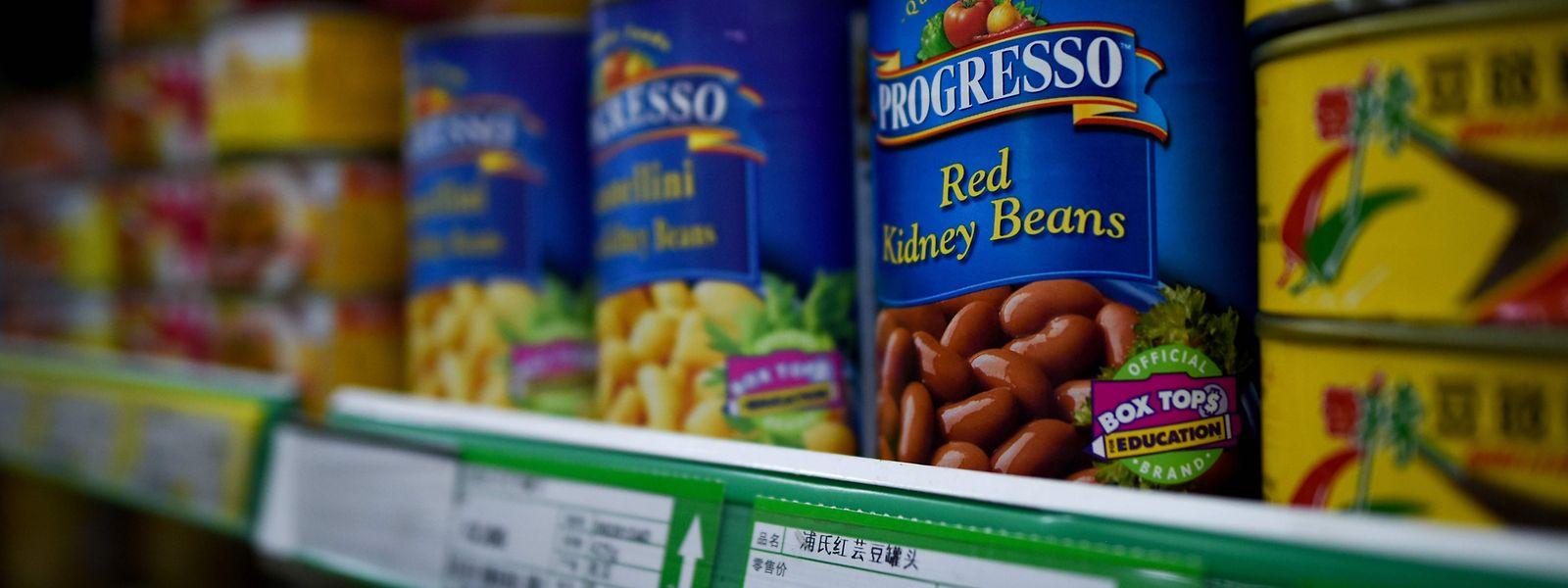 US-Bohnen in einem chinesischen Supermarkt. Auch sie könnten demnächst teurer werden.