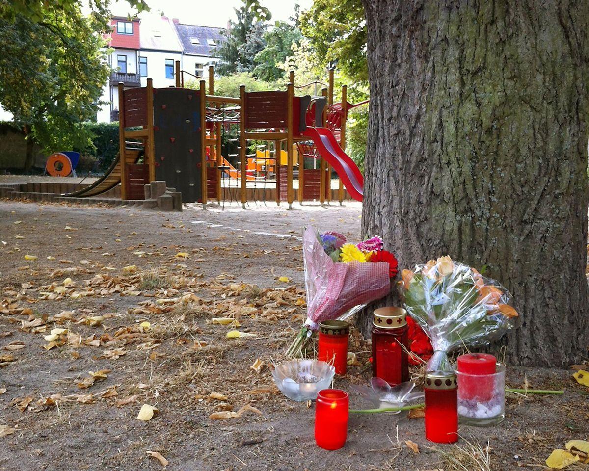 Blumen stehen an einem Baum auf dem Spielplatz.
