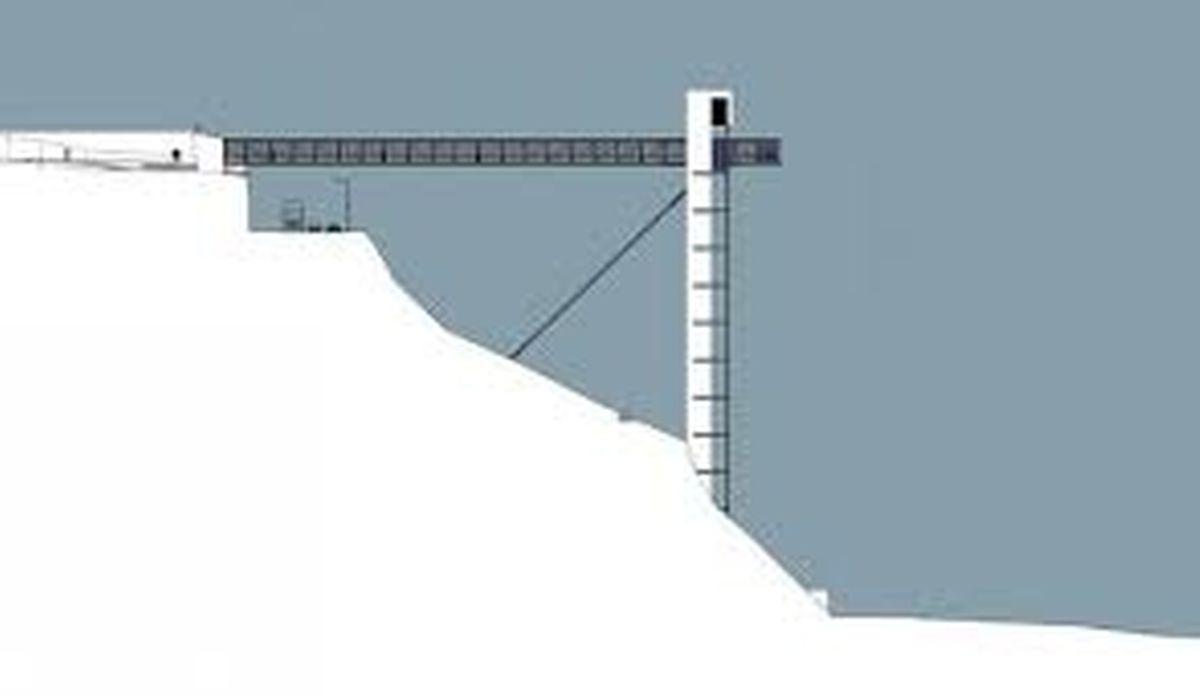 Une tour de 70 mètres de haut, une passerelle de 72 mètres de long qui débouche sur le Parc Pescatore (en passant au-dessus de la Côte d'Eich) et une béquille d'acier de 16 tonnes pour étayer la structure, forment l'ascenseur.