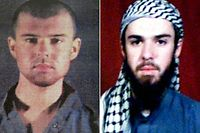 "(COMBO) This combination of pictures created on April 17, 2019, shows at left a police file photo made available February 6, 2002 of the ""American Taliban"" John Walker Lindh and at right a February 11, 2002 photograph of him as seen from the records of the Arabia Hassani Kalan Surani Bannu madrassa (religious school) in Pakistan's northwestern city of Bannu. - John Walker Lindh, dubbed the ""American Taliban"" after he was captured fighting for the Islamist insurgents in November 2001, will be freed from prison on May 23, 2019 amid concerns he has not forsaken the radical ideology that took him to Afghanistan. (Photo by AFP)"