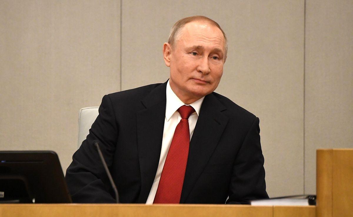 Wladimir Putin, Präsident von Russland, nimmt an einer Sitzung vor der Abstimmung über Verfassungsänderungen in der Staatsduma, dem Unterhaus des russischen Parlaments teil.
