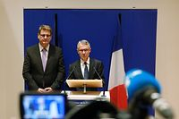 France's first national anti-terrorism prosecutor Jean-Francois Ricard (C), next to Head of the French judicial police Christian Sainte (L), gives a press conference on October 5, 2019 in Paris, after three police officers and an administrative worker -- three men and a woman -- died in the frenzied 30-minute attack on October 3 at the police headquarters. - Preliminary enquiries suggest that the attacker, a convert to Islam, could have become radicalised, said sources, who added that he had worked in a section of the police service dedicated to collecting information on jihadist radicalisation. (Photo by GEOFFROY VAN DER HASSELT / AFP)