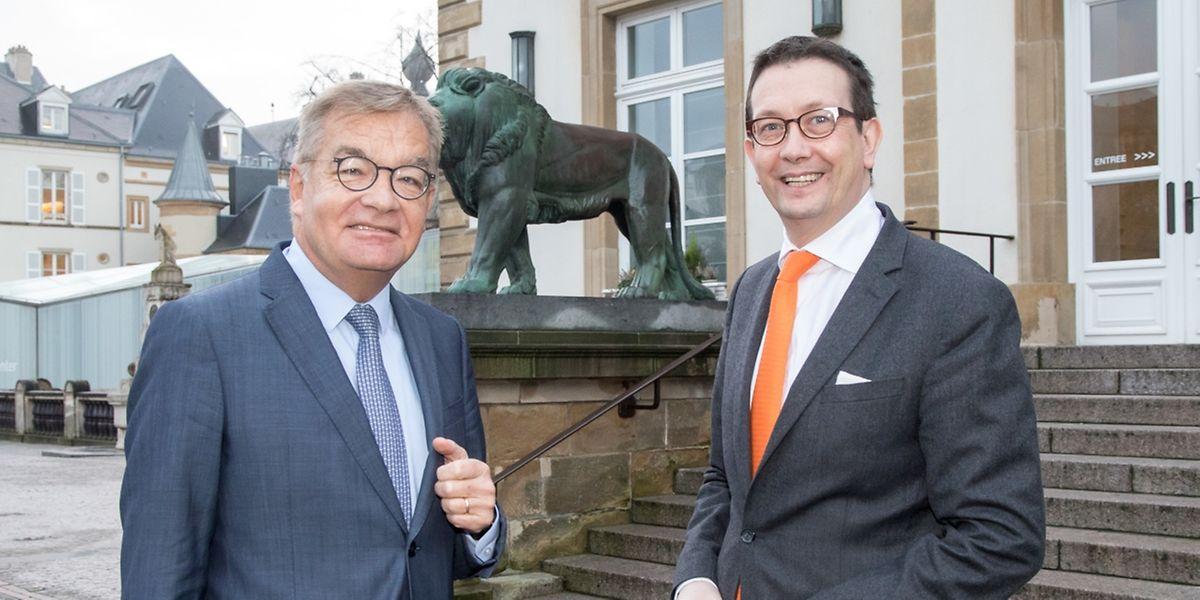 Gute Mienen trotz weniger Einnahmen: Laurent Mosar (links) und Maurice Bauer am Knuedler.