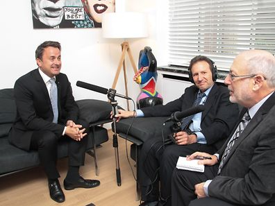 25.5.2016 Luxembourg, ville, ministère de l'état, visite chez Xavier Bettel et NPR production, X.Bettel, Art Silverman et Robert Siegel photo Anouk Antony