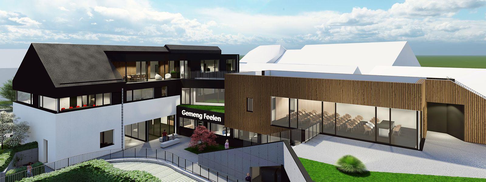Das neue Gemeindehaus wird die Kontur des ehemaligen Gehöfts Wahl übernehmen und im Hinterhof durch einen hölzernen Neubau und eine Tiefgarage vervollständigt.