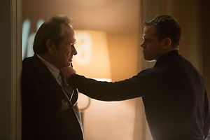 "Jason Bourne (MATT DAMON) and CIA Director Dewey (TOMMY LEE JONES) in ""Jason Bourne,"" the action-thriller in which Damon returns to his most iconic role.  Paul Greengrass, the director of The Bourne Supremacy and The Bourne Ultimatum, once again joins Damon for the next chapter of Universal Pictures' Bourne franchise, which finds the CIA's most lethal former operative drawn out of the shadows."