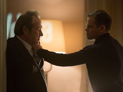 """Jason Bourne (MATT DAMON) and CIA Director Dewey (TOMMY LEE JONES) in """"Jason Bourne,"""" the action-thriller in which Damon returns to his most iconic role.  Paul Greengrass, the director of The Bourne Supremacy and The Bourne Ultimatum, once again joins Damon for the next chapter of Universal Pictures' Bourne franchise, which finds the CIA's most lethal former operative drawn out of the shadows."""