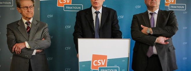 """Die CSV um Fraktionschef Claude Wiseler (Mitte) fordert Aufklärung und politische Konsequenzen in der """"Affäre Bettel-Kemmer"""""""