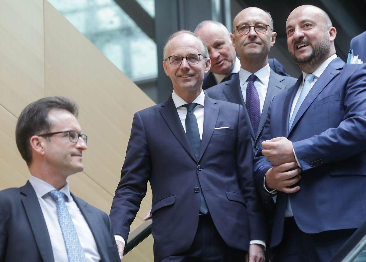 (v.l.n.r.) Carlo Thelen, Luc Frieden, Fernard Ernster, Michel Wurth, Etienne Schneider.