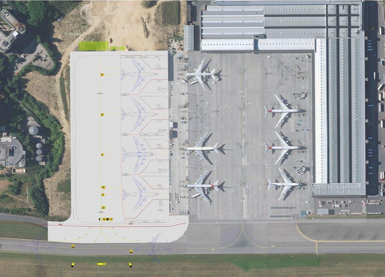 Erweiterung des Cargo-Vorfelds: Bereits Mitte 2018 sollen bis zu zwölf Maschinen vom Typ Boeing 747-8 gleichzeitig Platz finden.