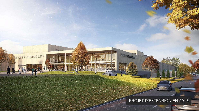 Vue de la nouvelle extension du centre commercial depuis la route de Longwy. (finalisation fin 2018)