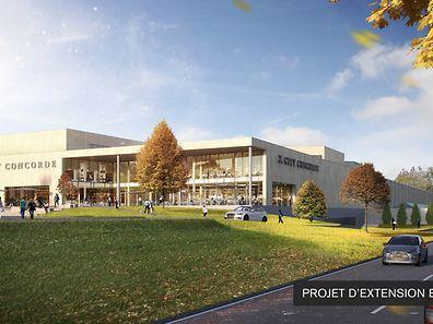 Vue de la nouvelle extension du centre commercial depuis la route de Longwy.