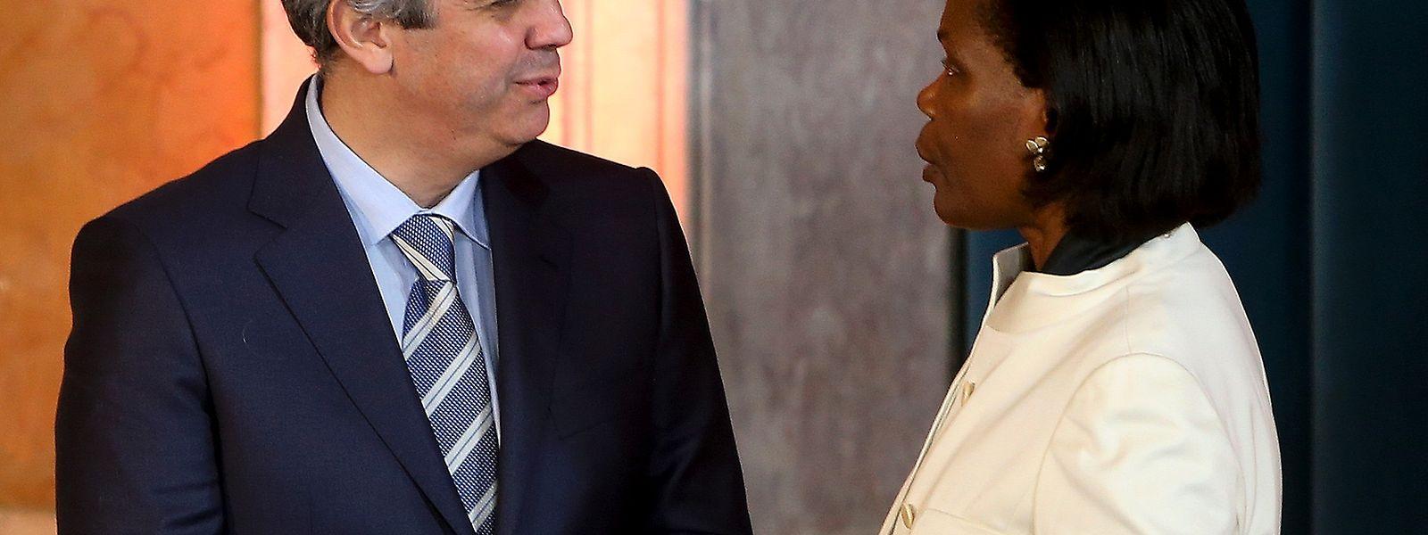 António Centeno, Ministro das Finanças, e Francisca Van Dunem, Ministra da Justiça