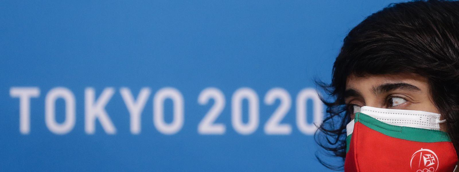 A judoca portuguesa, Catarina Costa, fala numa conferência de imprensa na Aldeia Olímpica, a dois dias do início dos Jogos Olímpicos de Tóquio 2020.