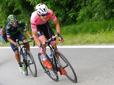 Bob Jungels of Etixx - Quick Step team with Costa Rican Andrey Amador of Movistar team in action during the 11th stage of the 99th Giro d'Italia, Tour of Italy, from Modena to Asolo on May 18, 2016.