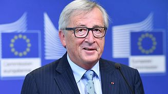 European Commission President Jean-Claude Juncker gives a press conference following his meeting with French Prime Minister at the European Commission in Brussels on October 16, 2017.