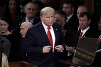 President Donald Trump arrives to deliver the State of the Union address in the chamber of the US House of Representatives at the US Capitol Building on February 4, 2020 in Washington, DC. (Photo by Olivier DOULIERY / AFP)